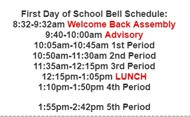 day 1 bell schedule