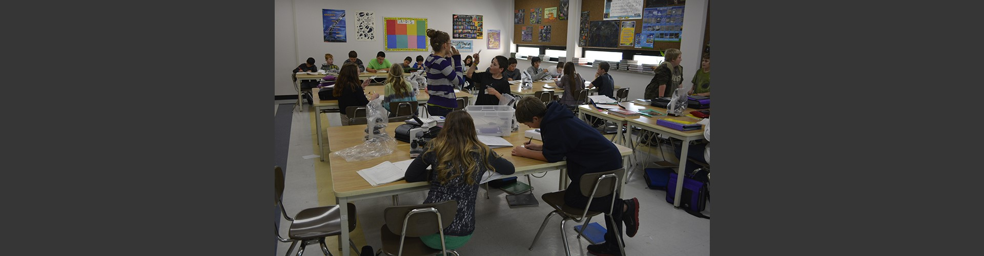 Students working in class at Alameda Middle School