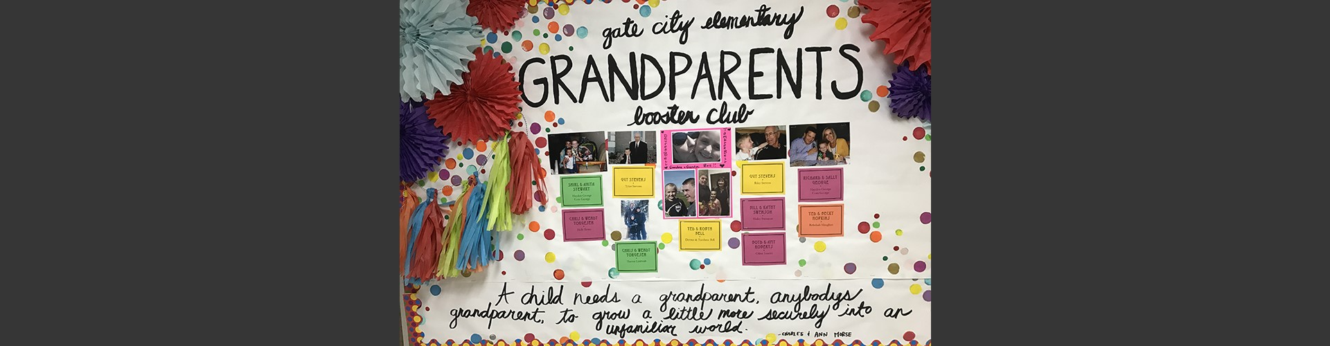 Bulletin board for Grandparents Booster Club
