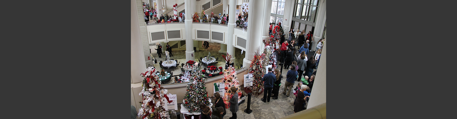 overhead view of patrols viewing displays at the Festival of Trees